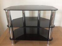 LCD TV stand, 3-tier, 60 cm wide, Kenmark KM-TS014M-K, black glass