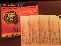 THE LION KING 4 STALLS TICKETS Absolute bargain £42 each ON 7TH FEB @ 7.30PM can split 2 x pairs