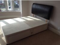 Myers double bed with storage and leather headboard