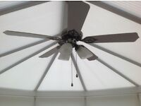 Ceiling fan and light. Ideal for conservatories.