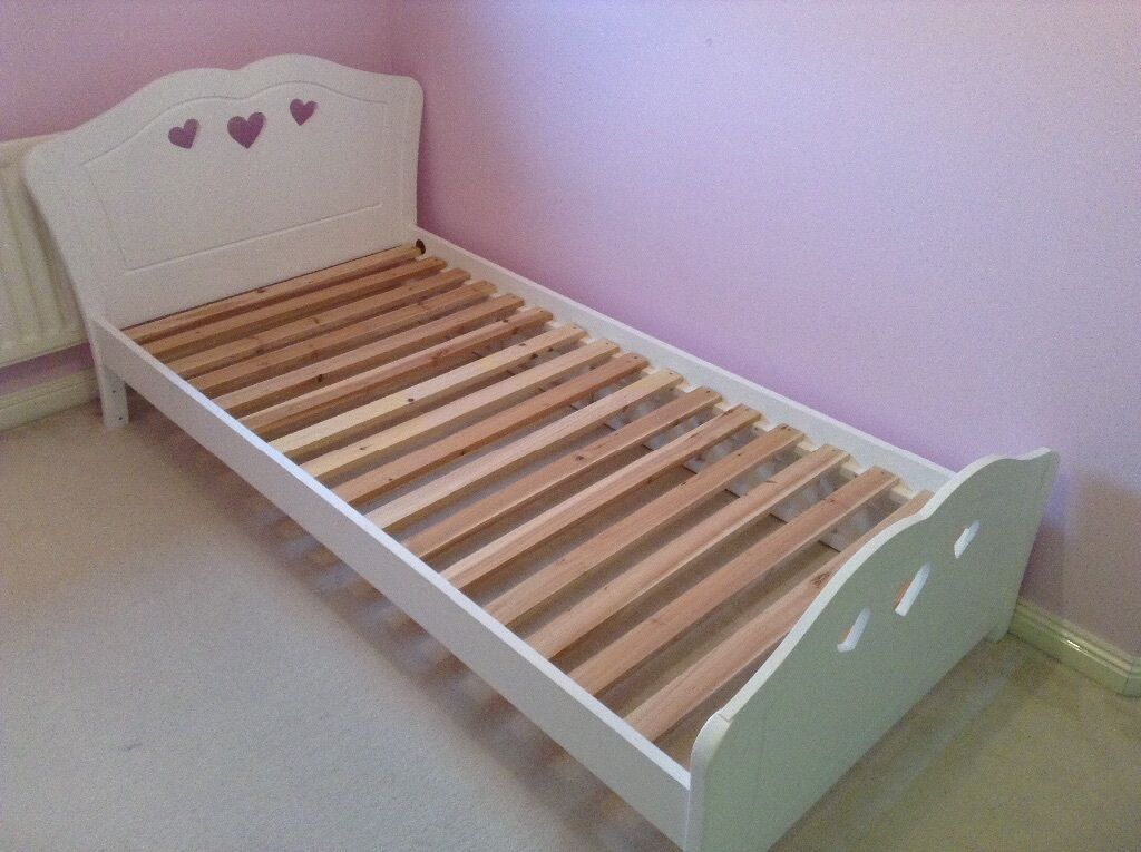 Girls White Wooden Single Bed With Heart Design From Very
