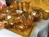 Large selection of vintage amber decorative glass for sale individually or in groups