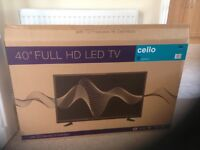 "New 40"" full HD LED TV (still boxed) manufacturer Cello"