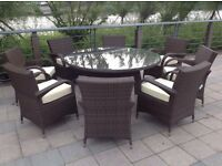 Paradise 8 Seater Round Brown or Grey Rattan Garden Furniture Dining Set Brand New in Box