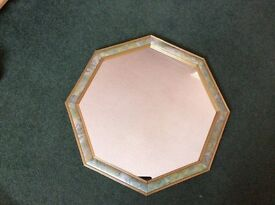 MIRROR, 50p SHAPE, PATTERN TO OUTER EDGE.