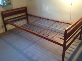 Single bed frame, wooden head and footboard, sprung base