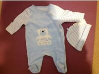 Brand new baby onesie with hat for new born