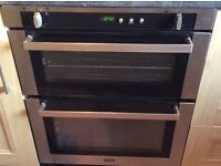 Double Oven in stainless and black glass