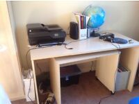 Computer desk, pull out keyboard table and storage cupboard
