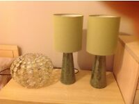 Easy fit NEXT ceiling shade and matching pair of NEXT bedside table lamps