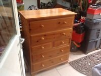 Solid pine x6 chest drawers