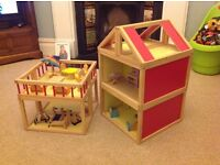 Wooden multi-floor modern style childrens unisex play dolls house with wooden furniture