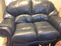 Navy blue 2 seater leather sofa