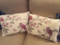 PAIR OF LAURA ASHLEY EMBROIDERED CUSHIONS