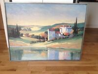 IKEA Large picture of Spanish village 4ft X 3ft with painted grey frame £15