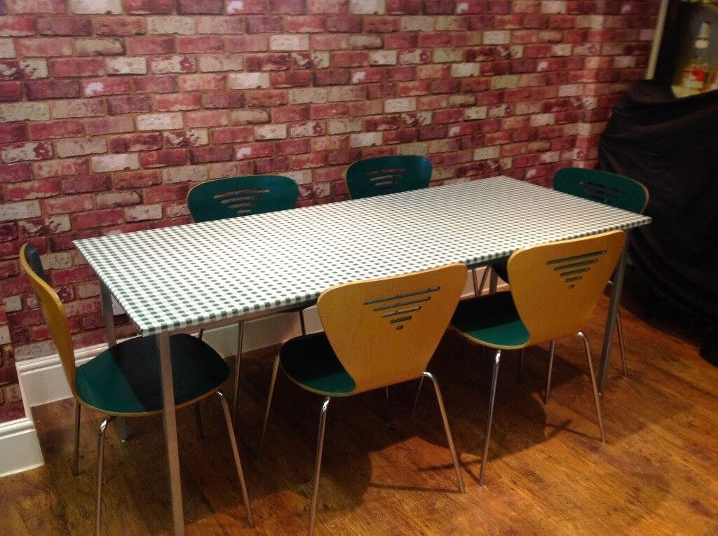 TABLE AND 6 BISTRO STYLE (EX JOHN LEWIS) CHAIRS - CAN DELIVER