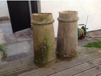 Pair of Victorian chimney pot planters
