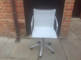 IKEA Silver Metal and Textile Office, Study Chair with arms and castors VGC £10