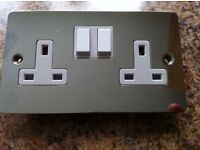 NEW NEW 8 x 13 Amp Double Plug Socket 2 Gang Polished Chrome FLAT Plate NEW- NEW_NEW