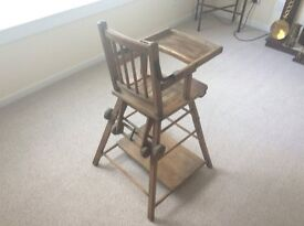 Vintage Collectible Antique Baby or kids High Chair Which Folds Into Desk And Chair On Wheels