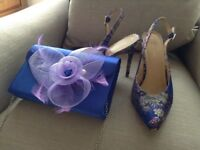 Floral sling back court shoe size 8 with colour matching clutch bag flower removable