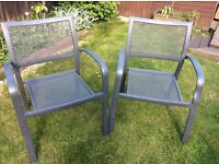 Pair of metal garden chairs