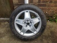 "Seat 5 stud 16"" alloy wheel with nearly new tyre 205/55R16."