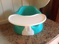 Bumbo baby seat with tray in aqua