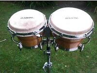 Percussion kit; Bongos, conguitas, cowbells, windchimes, cases, etc
