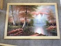 6 oil paintings oak frames