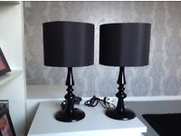 REDUCED!!!! Pair of black candlestick lamps