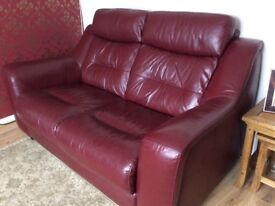 2 Seater Leather sofa and Reclining chair