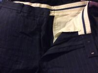 M&S New navy stripe smart trousers size 32 waist, 33 leg