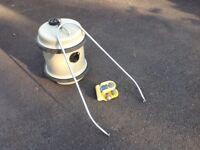 Caravan Hitch Lock and Aquaroll 40 liter water barrel