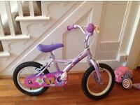 """Apollo petal 14"""" pink/purple bike with removable stabilisers and helmet"""