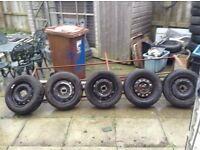 Wheels and tyres,,,, came of Citroen belingo van ,,,good tyres,,, £40