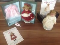 "Two new boxed 6"" porcelain dolls with certificates"