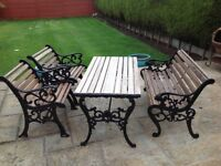 Refurbished cast iron table and chairs