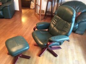 Reduced priceGreen real leather reclining chair and footstool