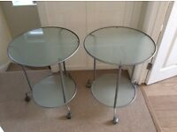 Glass bedside / coffee table, sold together or separately