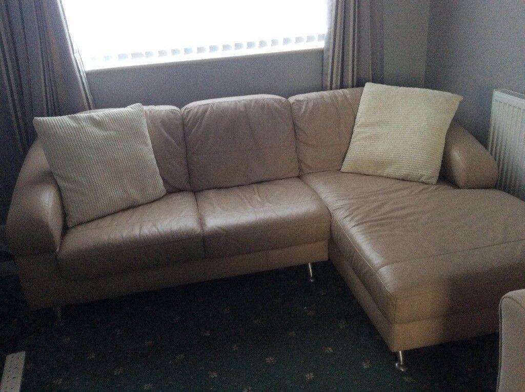 Cream coloured leather sofa corner unit
