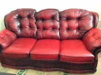 Oxblood Chesterfield Armchair and Sofa