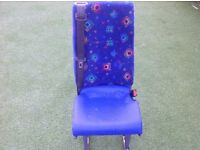 Mini bus seat with seat belt and runners