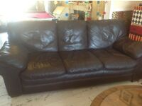 Real leather large 3 seater sofa dark brown