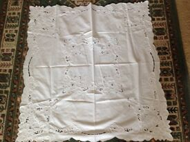 Small square white patterned cotton tablecloth