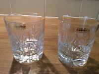 2 crystal whisky glasses