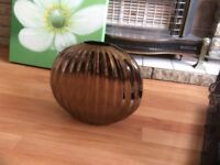 Bronze vase with ribbed effect