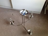 2 three armed brushed steel light fittings