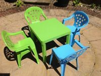 Children's 5 piece square table and chairs - nearly new - used for grandchildren infrequently
