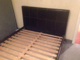 Bed frame c/w slats (Leather effect) very clean and in good condition (small scuff mark on LH rail)